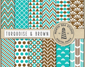 Turquoise and Brown Digital Paper Pack | Scrapbook Paper | Printable Backgrounds | 12 JPG, 300dpi Files | BUY5FOR8