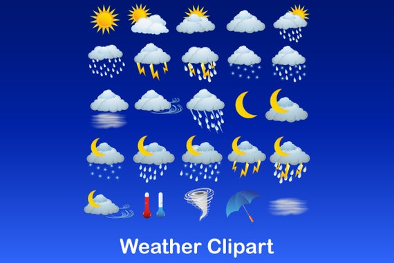 Weather Clipart Weather Graphics Weather Vector Icons Pack Sun Moon Rain Snow Clouds Teacher Clipart By North Sea Studio Catch My Party