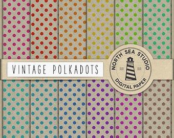 BUY5FOR8 Vintage Polkadots Digital Paper Vintage Polkadot Scrapbook Paper Polka Dot Pattern Old Vintage Craft Paper Backgrounds