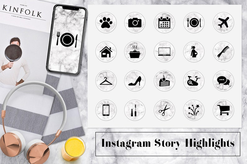 Icone Di Marmo Instagram Instagram Storia Evidenzia Etsy