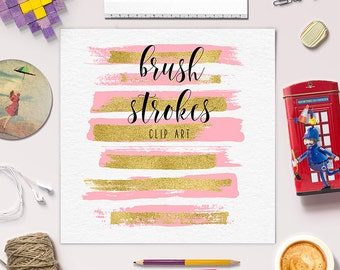 Pink Brush Strokes With Gold Foil | Gold Pink Clip Art | Hand Painted Clipart | Gold Brush Strokes | Paintbrush Strokes | BUY5FOR8