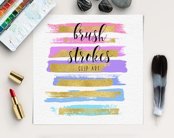 Paint Stroke Brushes, Colorful Brush Strokes With Gold Foil | DIY Clipart | Hand Painted Clipart | Brush Strokes For Logo Design | BUY5FOR8