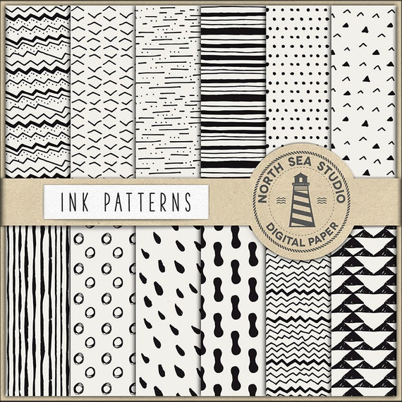 Ink Digital Paper Black Ink Papers Hand Painted Patterns Etsy