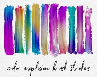 COLOR EXPLOSION, Brush Stroke Clipart, Colorful Gradient Brush Strokes, Hand Painted Brushes, For Logo Design And Invitations, BUY3FOR6