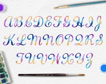 Uppercase Rainbow Letters, Digital Watercolor Alphabet, Rainbow Watercolor Font, Watercolor Letters Clip Art, Calligraphy Font, BUY5FOR8