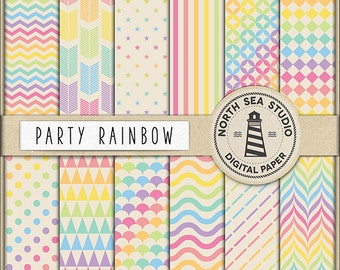 PARTY RAINBOW Digital Paper Scrapbook Paper Pack Rainbow Background Chevron Polkadots Stripes Arrows Triangles Rainbow Patterns BUY5FOR8