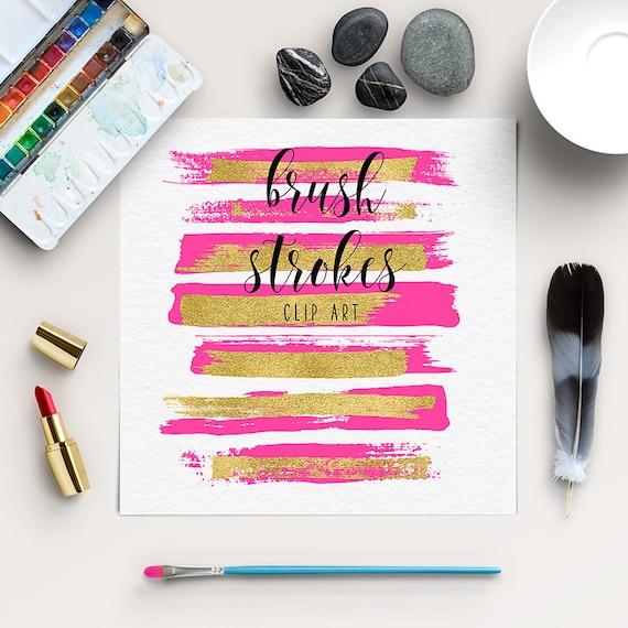 Stroke Pinsel Malen Pinselstriche Clipart Mit Goldfolie Etsy