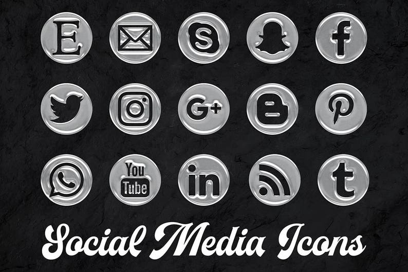 Water Drops Icons Set 15 PNG Water Icons Round Social Media Buttons Social Media Icons Clipart Instant Download
