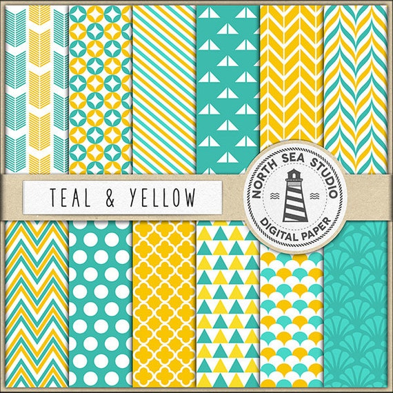 Teal And Yellow Digital Paper Pack Scrapbook Paper Etsy
