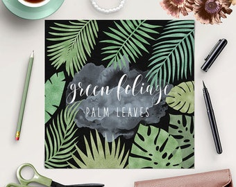 Tropical Leaves Clipart, Palm Leaves Clip Art, Green Leaf, Nature Clipart, Tropical Palm Clip Art, 11 PNG Separate Elements, BUY7FOR10