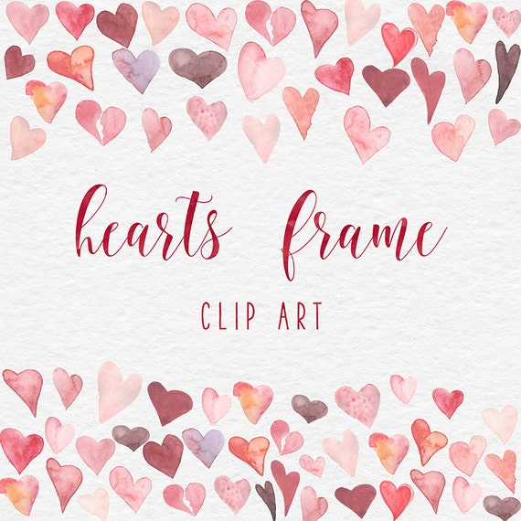 Watercolor Frames, Watercolor Hearts Frame Clipart, Valentine Hearts ...