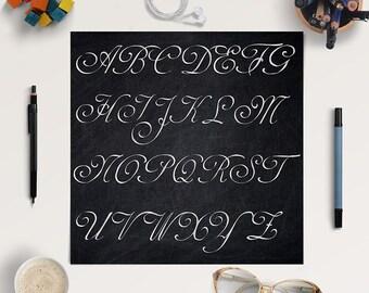 CURSIVE HANDWRITING, Chalkboard Alphabet, Chalkboard Letters, Chalkboard Font Clipart, Coupon Code: BUY5FOR8