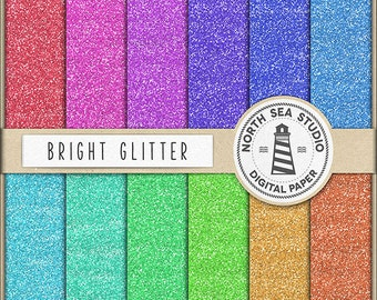 JUST A GIRL Glitter Digital Paper Bright Sparkle Glitter Backgrounds Jewel Shine Paper Rainbow Sparkles Colorful Glitter BUY5FOR8