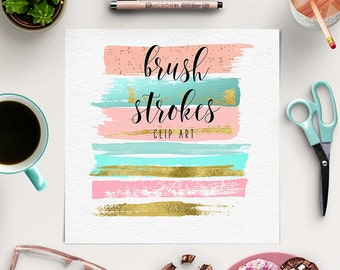 Paint Stroke Brushes | Brush Strokes Clipart | Peach, Pink, Gold Graphic Elements | Paint Clipart | Ink Strokes | Logos, Branding | BUY5FOR8