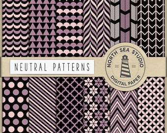 Neutral Digital Paper Pack   Scrapbook Paper   Printable Backgrounds   Triangles, Stripes, Quaterfoil Patterns   12 JPG, 300dpi   BUY5FOR8