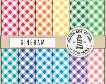 Picnic Patterns, Gingham Digital Paper, Gingham Paper, Gingham Backgrounds, Digital Scrapbooking, 12 JPG 300 dpi Files, Download, BUY5FOR8