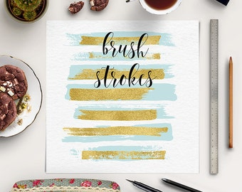 Blue Brush Strokes With Gold Foil | Gold Blue Clip Art | Hand Painted Clipart | Gold Brush Strokes | Paintbrush Strokes | BUY5FOR8