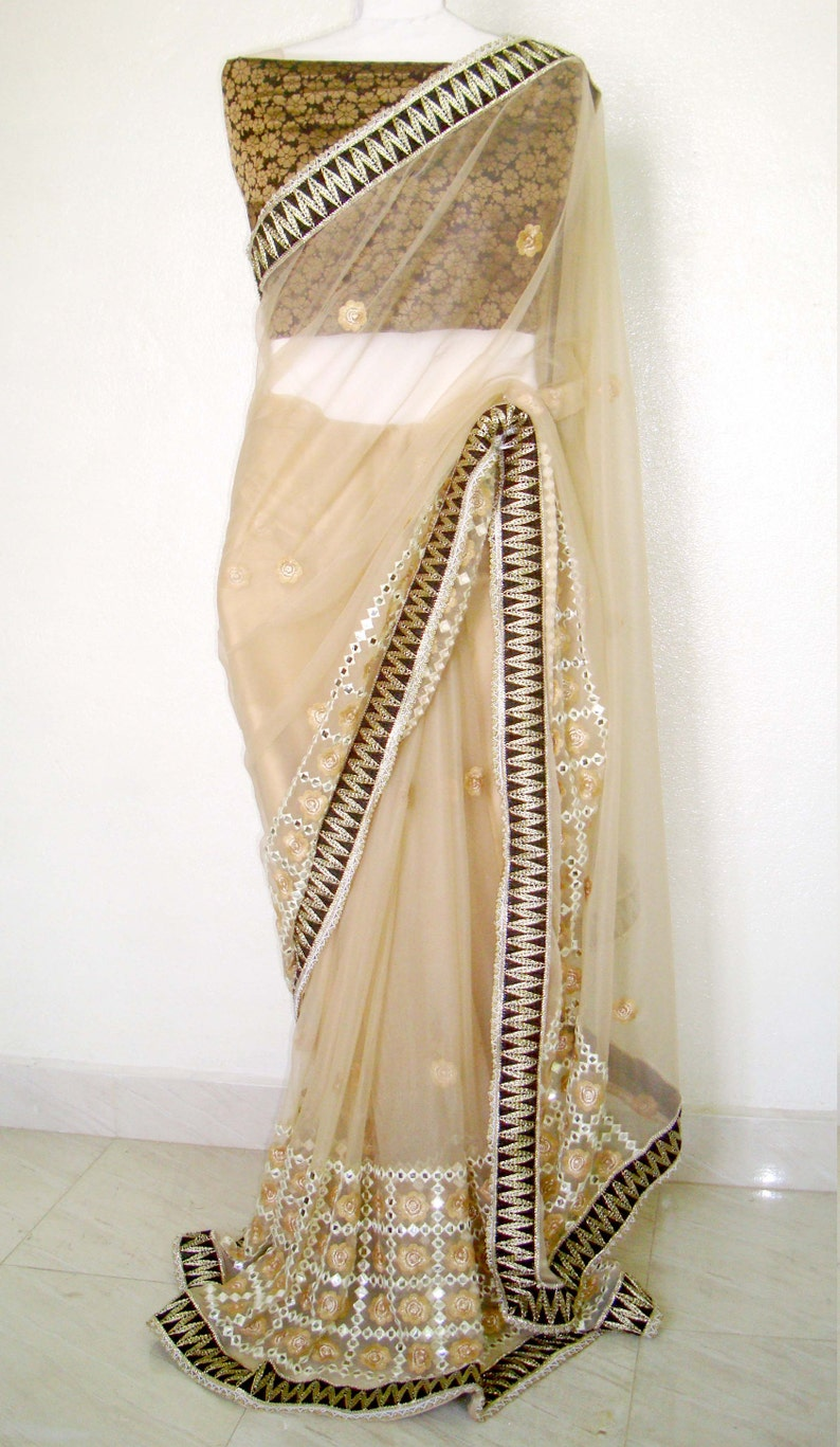 55b9fc34a0 Beige color net embroidery sari indian bridal saree | Etsy