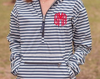 Monogrammed Striped Pullover | Monogram Rain Jacket | Monogram Pullover | Light Weight Jacket | Monogrammed Jacket | Nautical Stripe Jacket