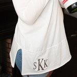 Monogram Tunic | Hooded Tunic | Lightweight Tunic | Monogram Hoodie | Monogram Shirt | Personalized Tunic | Ladies Monogram Tunic