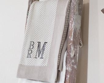 Monogrammed Throw | Adult Blanket | Monogrammed Blanket | Soft Cotton Throw | Herringbone Blanket | Wedding Gift | Anniversary Gift |