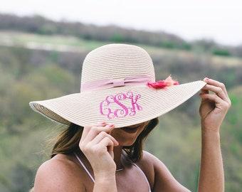 Monogrammed Floppy Hats   Personalized Sun Hat   Floppy Straw Hat   Honeymoon Hat   Beach Hat   Bride Gift   Bridal Shower Gift   Resort Hat