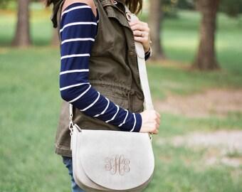 Monogram Crossbody Saddle Bag   Suede Crossbody   Monogrammed Saddle Bag   Gift for Her   Christmas Gift   Gifts under 50   Stella