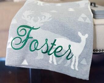 Monogram Christmas Throw   Personalized Christmas Blanket   Monogram Blanket   Soft Cotton Throw   Holiday Decor   Deer   Stag Blanket