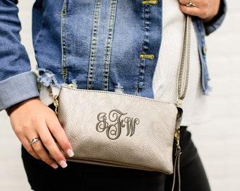 Monogrammed Crossbody Bag   Wristlet Wallet   Personalized Crossbody Purse   Monogram Purse   Gift for Her   Monroe