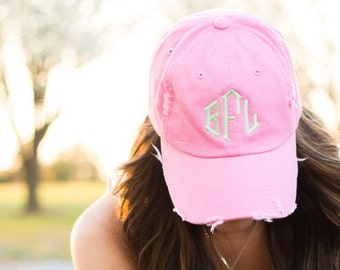 Monogrammed Distressed Baseball Hat, Personalized Vintage Ball Cap, Country Concert Outfit Hat, Country Girl Hat for Women