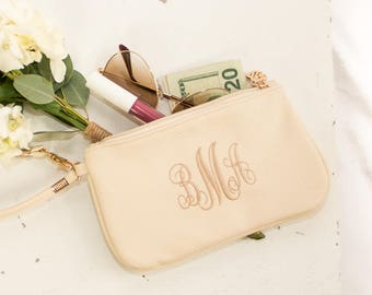 Monogrammed Wristlet Wallet | Vegan Leather Clutch | Bridesmaid Gift | Personalized Gifts for Your Girl Squad | Stocking Stuffers | Waco