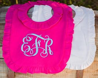 Baby Girl Monogrammed Bib | Ruffle Baby Bib | Monogram Bib | Baby Gift | Baby Girl Bib | Baby Bib | Baby Shower Gift | Baby Girl Gift