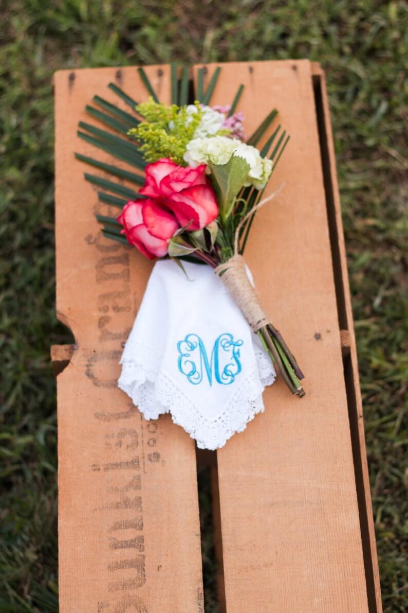 Monogram Handkerchief  Bridal Handkerchief  Personalized image 0