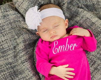 Monogram Baby Gown Girl | Newborn Gown | Baby Girl Coming Home Outfit | Take Home Outfit | Infant Gown | Personalized Baby Girl Outfit