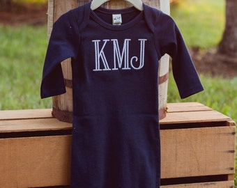 Monogram Baby Boy Gown | Coming Home from Hospital Outfit | Baby Boy Pajamas | Take Home Outfit | Infant Gown | Personalized Baby Boy Outfit