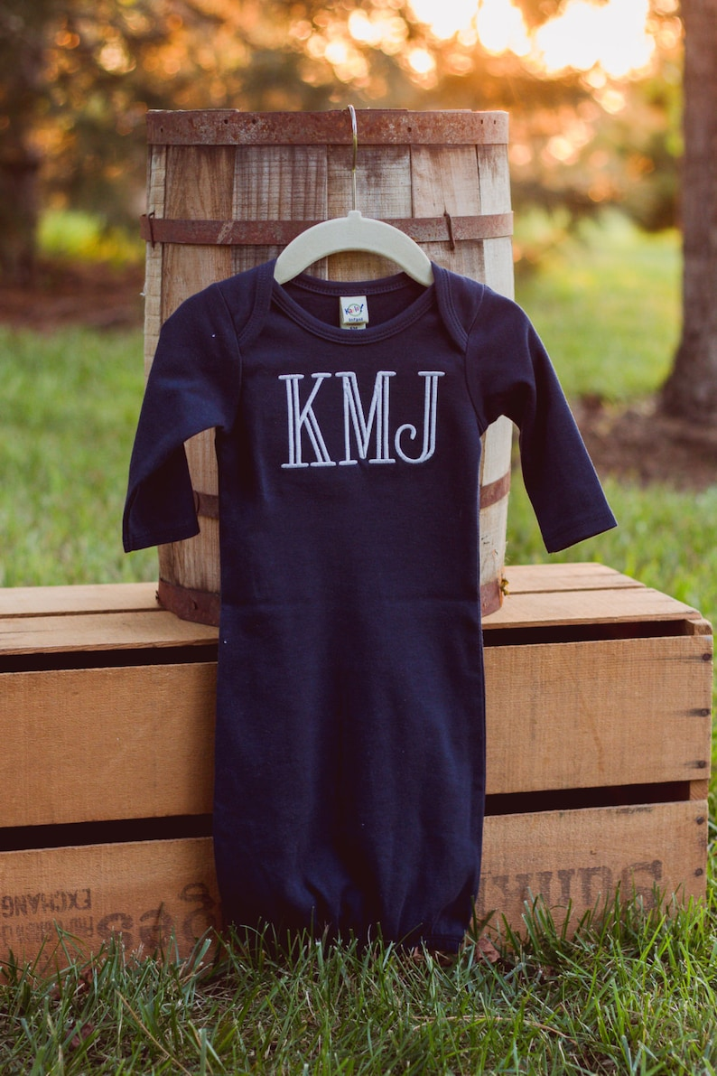 Monogram Baby Boy Gown  Coming Home from Hospital Outfit  image 0