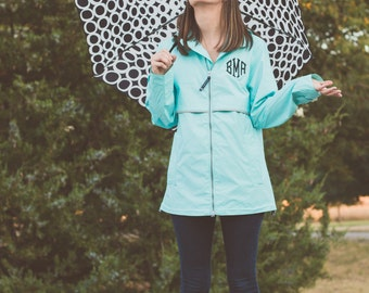 Monogrammed Charles River Rain Jacket | New Englander Rain Coat | Womens Rain Jacket | Monogram Rain Jacket | Gift for Her | Gifts under 50