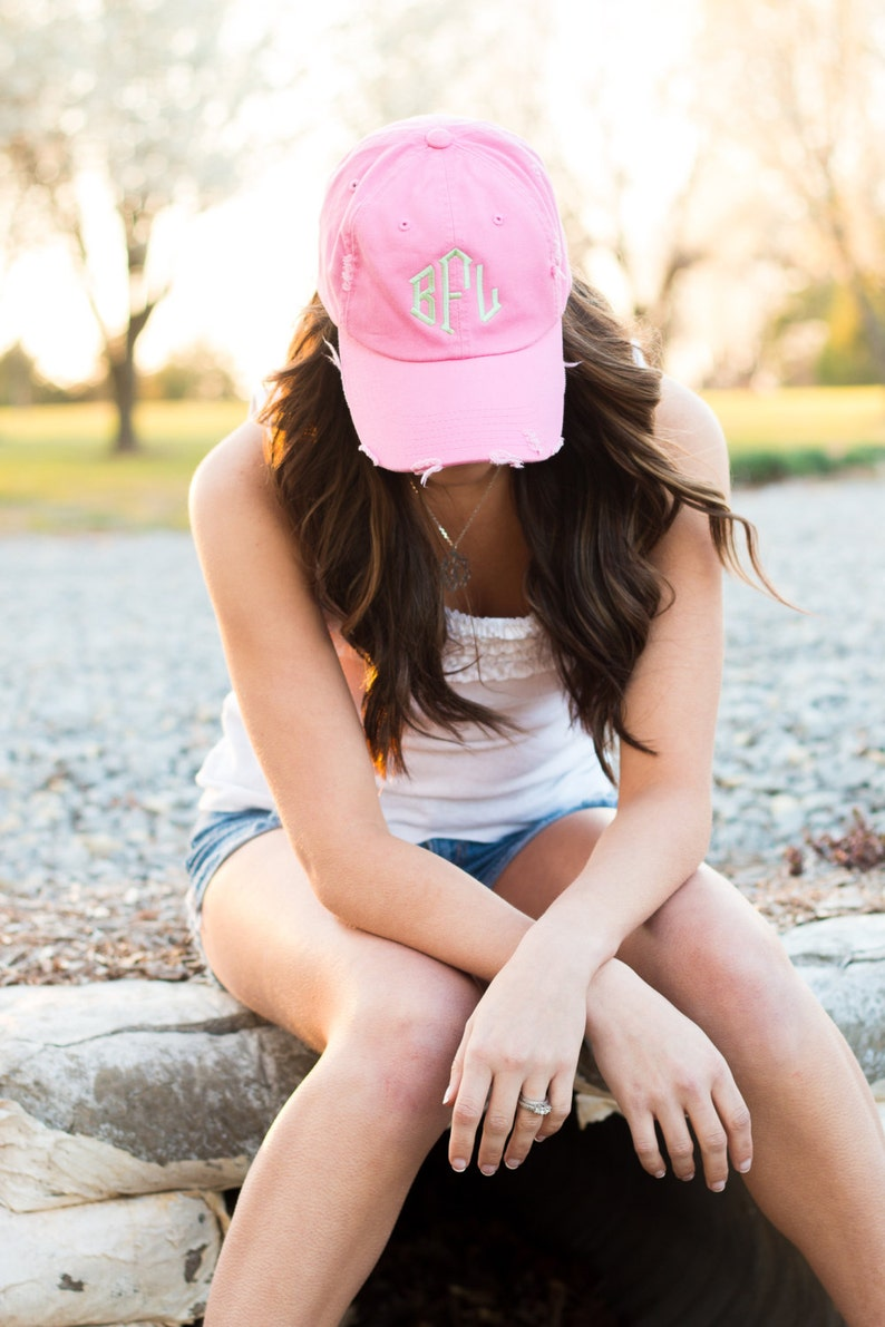 Monogrammed Distressed Baseball Hat Personalized Vintage Ball image 0