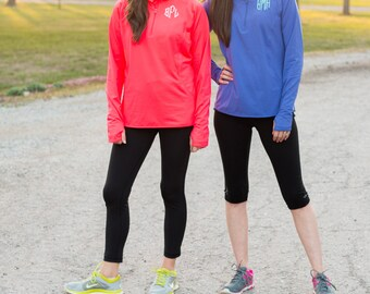 Monogram Quarter Zip Pullover   Dri Fit Pullover   Athletic Zip Up Sweatshirt   Heathered   Personalized Gift for Her   Best Friends