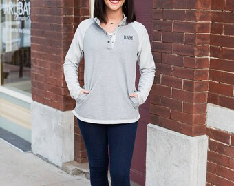 Monogrammed Terry Pullover | Buttoned Pullover | Lightweight Terry Cloth Sweatshirt | Personalized Gift for Her | Gifts for Best Friends