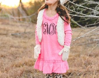 Monogram Long Sleeve Dress   Monogram Ruffle Dress   Girls Monogram Dress   Long Sleeve Dress   Monogram Pink Dress   Gifts under 30