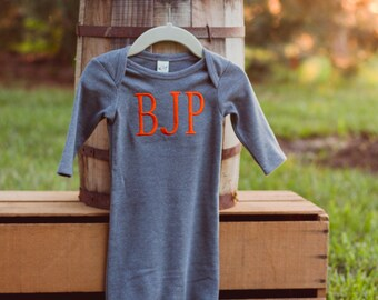 Monogram Baby Gown Boy | Baby Boy Coming Home Outfit | Baby Boy Gift | Baby Shower Gift | Take Home Outfit | Infant Gown | Baby Boy Gown