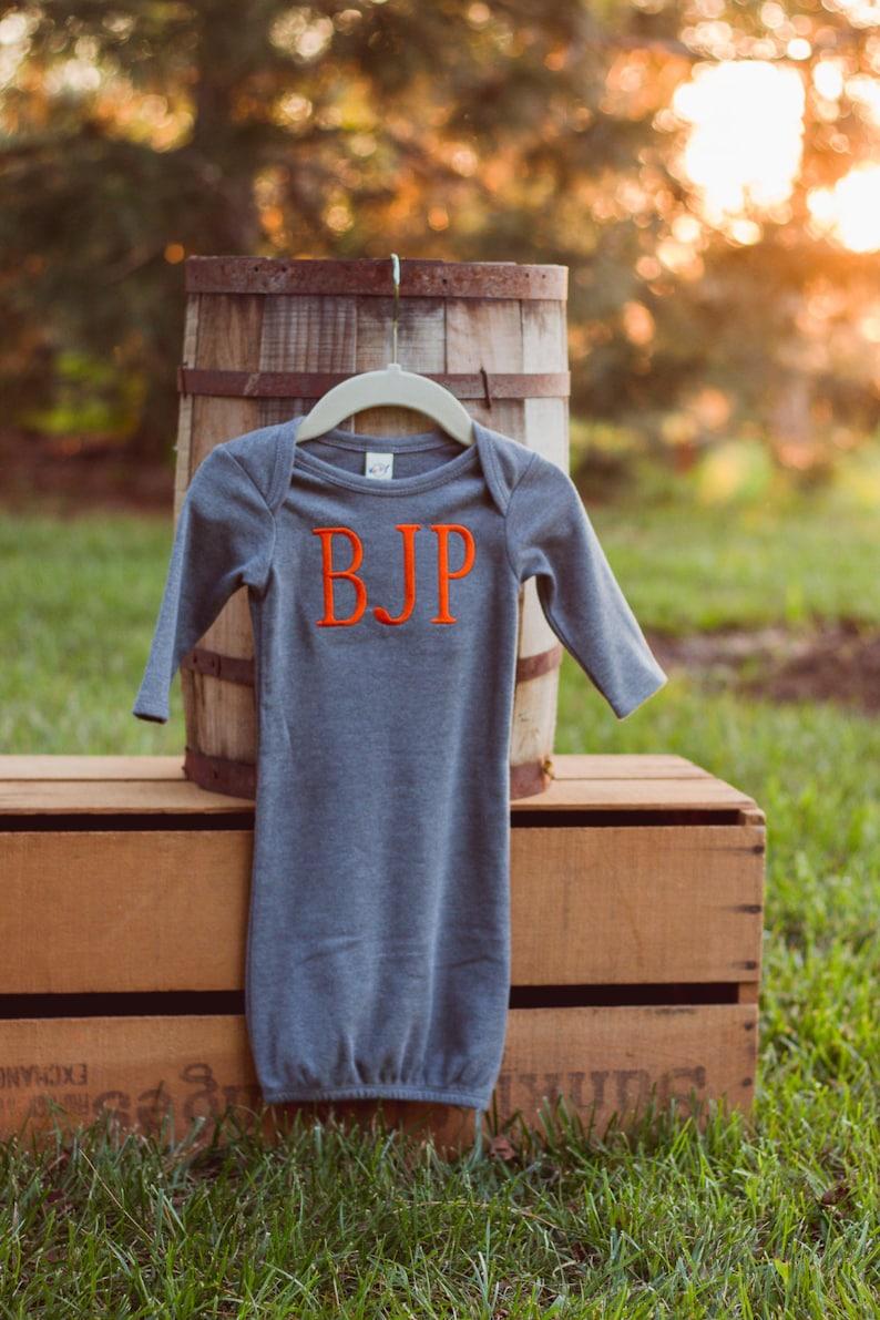 Monogram Baby Gown Boy  Newborn Gown  Bringing Home Baby image 0