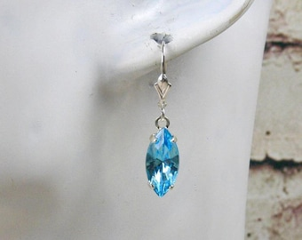 Earrings aquamarine Crystal, marquise earrings, wedding color, earrings, crystal earrings, aquamarine earrings, earrings silver