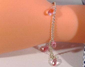 Trailer drop link chain bracelet silver plated Crystal tear charm bride wedding bridesmaid gift charm bracelet link bracelet