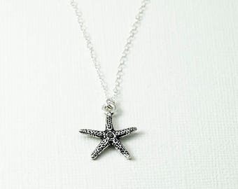 Starfish Necklace, Simple Necklace, Delicate Necklace, Mothers Necklace, Sterling Silver Necklace