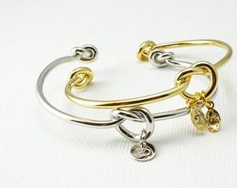 Knot Bracelet, Love Knot Bracelet, Initial Bracelet, Bridesmaid Knot Bracelet, Simple Bracelet