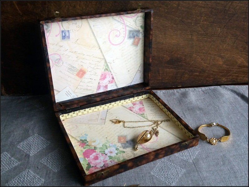 Handmade altered big old box with a victorian lady image