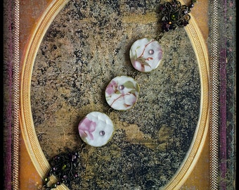 Handmade broken china pink wild roses bracelet