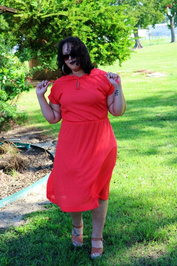 70s Red Gauze Dress